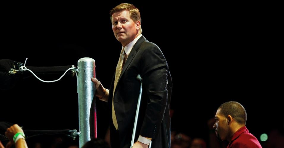John Laurinatis, chefão do Raw, uma das marcas do WWE. Ex-lutador, ele também entra no ringue de vez em quando