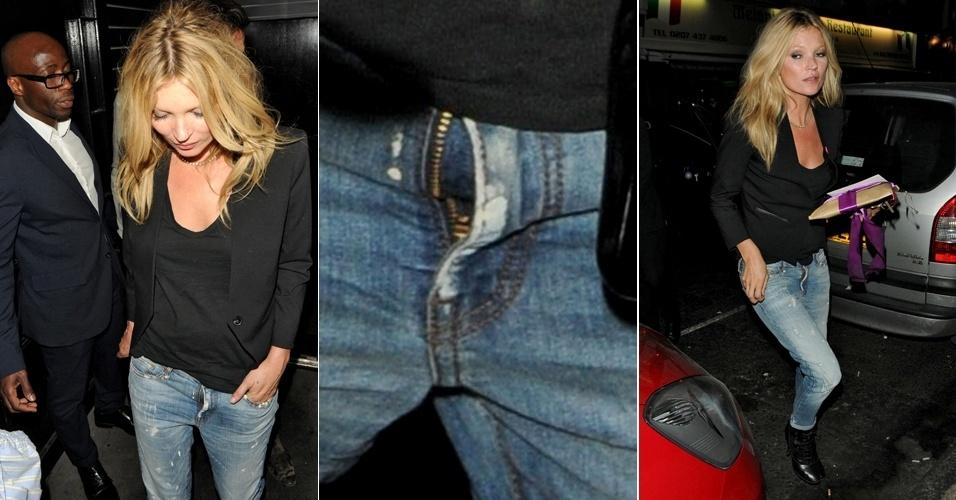 Modelo Kate Moss é flagrada com o zíper da calça aberto, após jantar no restaurante La Bodega Negra em Londres (24/5/12)