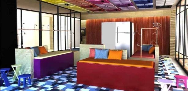 O papelão usado por Calazans ganhou cores Pantone e as geladeiras estruturam os bancos e sofás - Divulgação