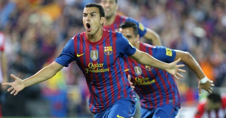 Pedro comemora após abrir o placar para o Barcelona na final da Copa do Rei