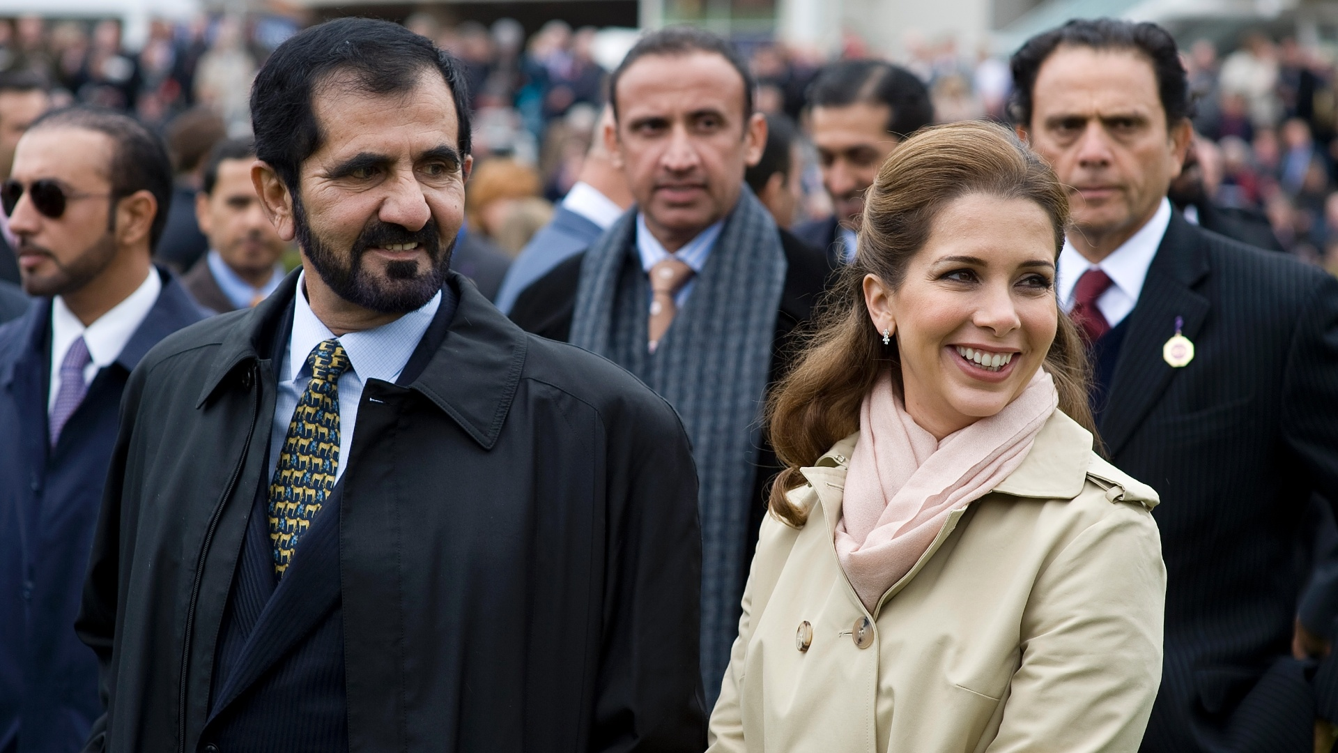 Princesa Haya, da Jordânia, ao lado do marido Mohammed bin Rashid Al Maktoum, primeiro-ministro dos Emirados Árabes Unidos