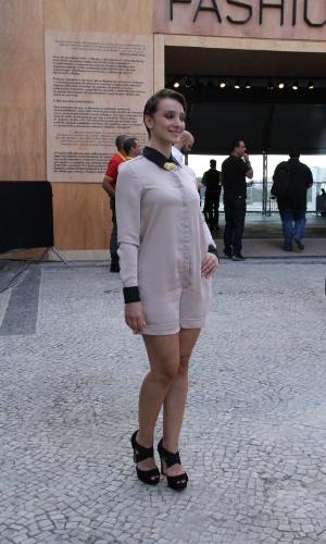 Sabrina Parlatore confere o quarto dia de desfiles do Fashion Rio (25/5/12). O evento de moda acontece no Jockey Club, zona sul do Rio