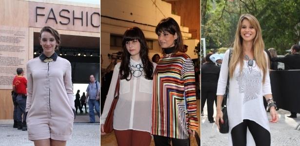 Entre as famosas que já entraram na onda dos maxicolares estão Sabrina Parlatore, Fernanda Abreu (e a filha) e Dani Bananinha, todas flagradas em visita ao Fashion Rio, que acontece até sábado (26) - Fotomontagem/AgNews