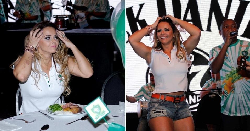 Viviane Araújo participa de feijoada da escola de samba Mancha Verde, em São Paulo (26/5/12)