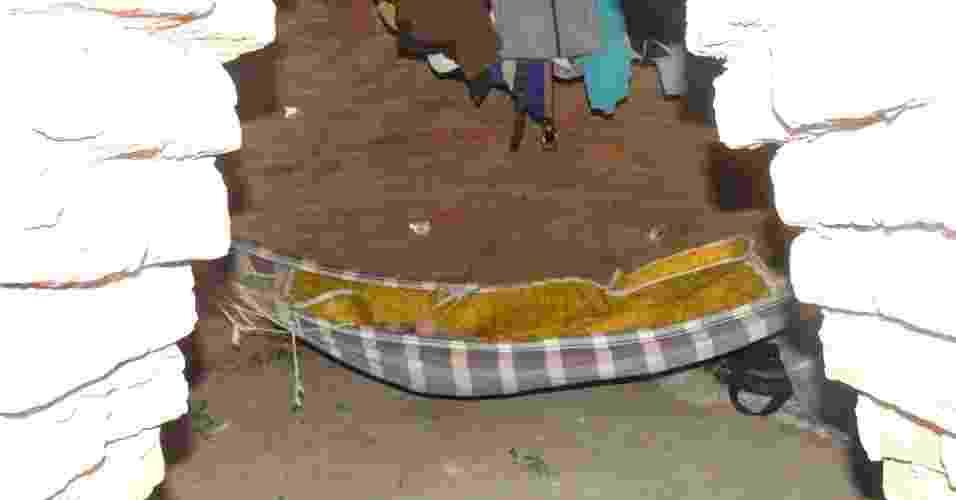 28.mai.2012 - Redes montadas nos fornos eram usadas como dormitórios para os trabalhadores que viviam em condições análogas à escravidão em sete carvoarias irregulares no sul do Piauí. Durante inspeção no local, a PRF (Polícia Rodoviária Federal) encontrou 70 profissionais em situação inapropriadas, além de cinco toneladas de carvão - PRF-PI / Divulgação