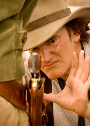"""O diretor Quentin Tarantino durante filmagens de """"Django Livre"""" - Divulgação/Sony Pictures"""