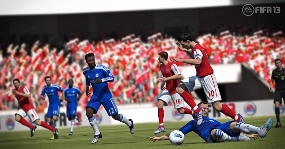 """""""FIFA 13"""" focará no visual realista dos atletas como uma das principais novidades neste ano"""