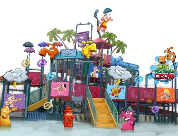 """Imagem de simulação da Ilha Misteriosa do Cascão, nova atração do parque aquático Wet """"n Wild em parceria com o estudio Maurício de Sousa - Divulgação"""