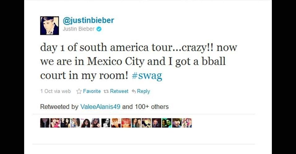 2011 - Em seu primeiro dia na turnê pela América do Sul, Justin Bieber foi para... a Cidade do México. Que seus quase 16 milhões de seguidores não tenham aprendido a geografia errada com o cantor