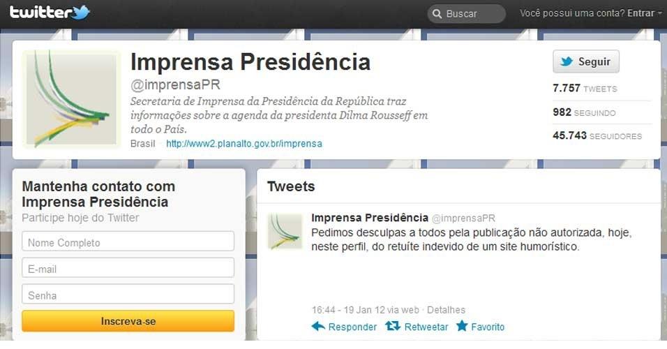 A Presidência da República pediu desculpas pela publicação de um post no twitter oficial do link de uma matéria humorística citando o ex-governador de São Paulo José Serra (PSDB)