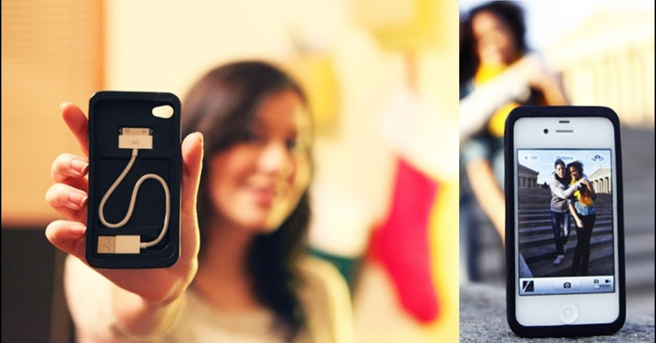 5.jan.2012 - Uma reclamação bem comum para quem usa um smartphone é que a bateria acaba nas horas mais inconvenientes -- e o carregador nunca está com você. Para resolver esse contratempo (pelo menos para donos de iPhones), um grupo de jovens inventou uma capa que vem com um cabo USB adaptado para caber dentro dela. Ela serve ainda para que o iPhone fique ''em pé'' sozinho, tanto no vertical como na horizontal. Mas para que o gadget vire realidade, seus inventores estão em busca de financiamento(crowdsourcing). Cord-On-Board, da Caselnity, US$ 25