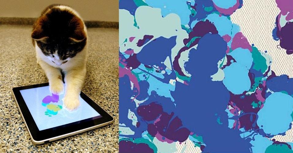 15.abr.2012 - Um abrigo de animais em Los Angeles resolveu adotar uma nova forma de arrecadação de donativos: está vendendo ''pinturas'' feitos por gatos feitas no iPad. Quatro gatos acolhidos na Sociedade de Prevenção de Crueldade contra Animais (SPCALA , na sigla em inglês) fizeram ''arte'' usando o aplicativo para tablet Paint for Cats. As imagens (bem interessantes, como a mostrada acima ao lado do gatinho) -- são vendidas em cartões no site da instituição por US$ 5,99