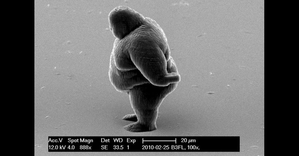 30.mar.2012 - Pesquisadores da Universidade de Tecnologia de Viena conseguiram criar com uma impressora 3D objetos menores que um grão de areia em quatro minutos -- segundo a agência de notícias Reuters é um recorde mundial de velocidade. A Reuters afirma que outras impressoras levavam horas e até dias para fazer o mesmo na escala dos nanômetros, como a impressora em Viena. Entre os itens produzidos com polímero sólido estão um carro de F1, uma ponte e até uma pessoa