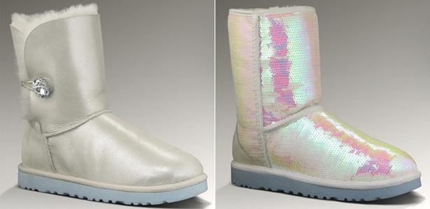 Linha para noivas da marca UGG traz botas com cristal Swarovski e paetês - UGG/Divulgação