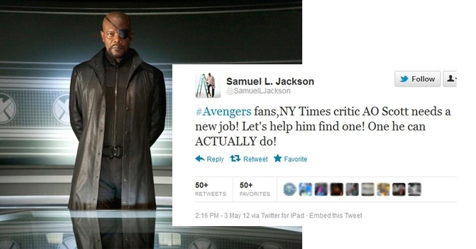 """3.mai.2012 - O ator Samuel L. Jackson não gostou nadinha do texto que o crítico do """"The New York Times"""" fez sobre o filme """"Os Vingadores"""". Jackson, que é o personagem Nick Fury no blockbuster, escreveu em seu Twitter a seguinte mensagem : """"Fãs de #osvingadores, o crítico do NY Times, AO Scott precisa de um novo emprego. Vamos ajudá-lo a achar outro. Um que ele saiba DE FATO fazer!"""". O ator tentou se desculpar, mas sua atitude foi bastante criticada. E a liberdade de imprensa, sr. Jackson?"""