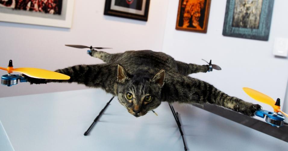 31.mai.2012 - Gato-helicóptero vira atração na feira KunstRai em Amsterdan, na Holanda. Cerca de 70 artistas locais aproveitam o evento para mostrar suas novas criações