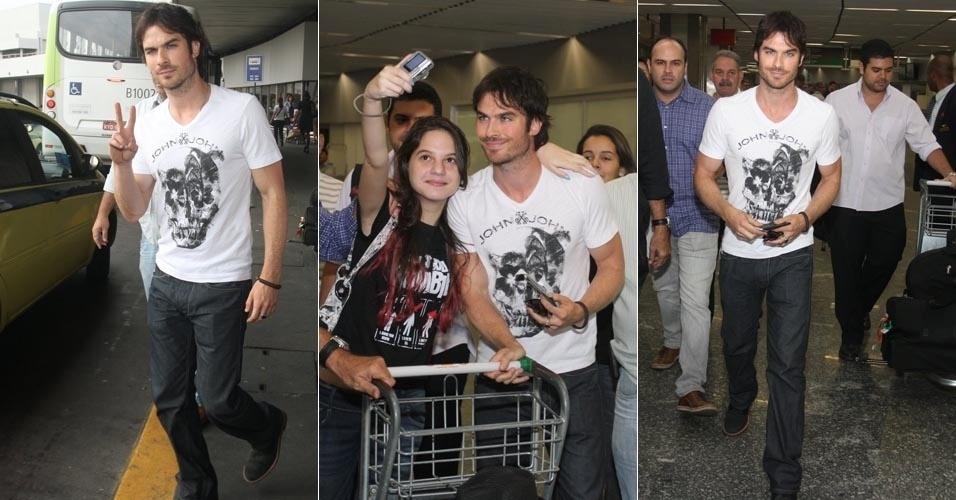 Ator Ian Somerhalder desembarca no Brasil para participar de uma festa (31/5/12)