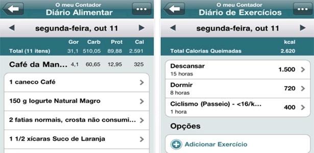 Aplicativo monta diário alimentar e de exercícios, que registra a quantidade de calorias ingeridas e queimadas