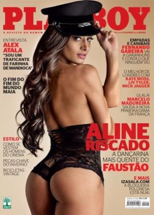 """A dançarina Aline Riscado estampa a capa da edição de junho da """"Playboy"""", divulgada nesta sexta-feira (1º). A morena é dançarina do """"Domingão do Faustão"""" e seu ensaio foi inspirado no filme """"Flashdance"""", de 1983"""