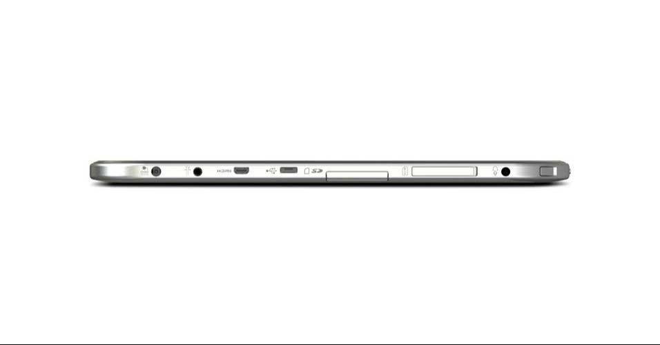 10.abril.2012 - O tablet Excite de 13 polegadas da Toshiba ainda conta com uma porta USB para o usuário espetar um pendrive, porta mini-HDMI e entrada para cartão de memória micro SD