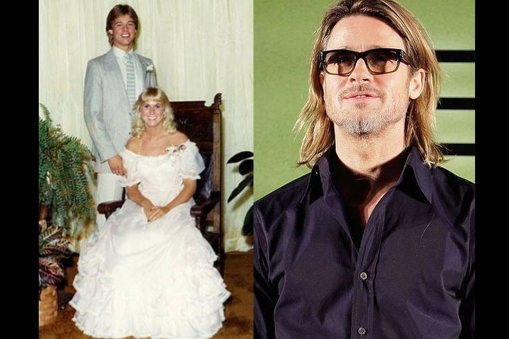 """Você conseguiria reconhecer Brad Pitt na foto de formatura da escola de Kickapoo, em Missouri? Pois em 1982, ele participou da formatura e, segundo a Us Weekly, dançou a música """"Rock With You"""", com sua acompanhante"""