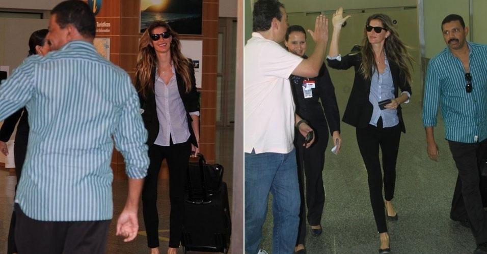Gisele Bündchen desembarca no Aeroporto Internacional Tom Jobim, no Rio de janeiro (4/6/12)