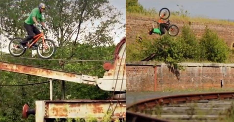 O cilcista inglês Danny Macaskill postou na internet um vídeo seu onde realiza manobras em uma estação de trens abandonada no interior da Escócia. Confira!