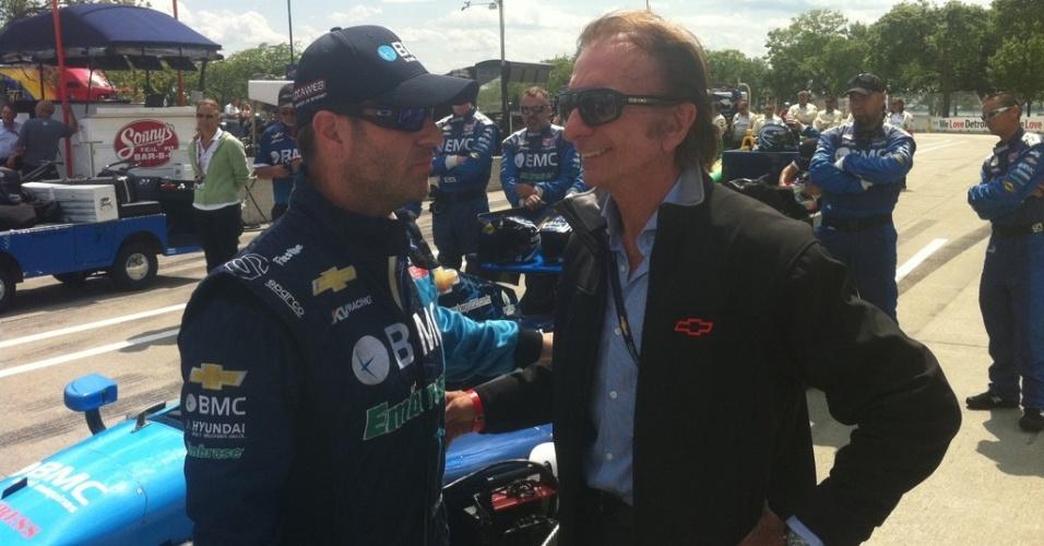Rubens Barrichello se encontra com Emerson Fittipaldi no fim de semana da etapa de Detrot da Indy