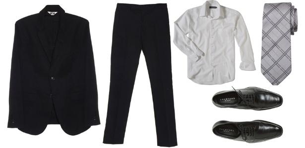 Para não errar, combine o costume preto com camisa branca e gravata em tons de preto, cinza ou prata. O sapato de amarrar preto de couro completa o conjunto  - Divulgação