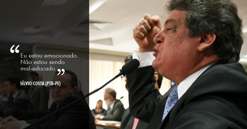 """5.jun.2012 - """"Eu estou emocionado. Não estou sendo mal-educado"""", disse o deputado Sílvio Costa (PTB-PE) depois de ser alertado sobre o tom de suas perguntas na reunião do dia 5 de junho"""