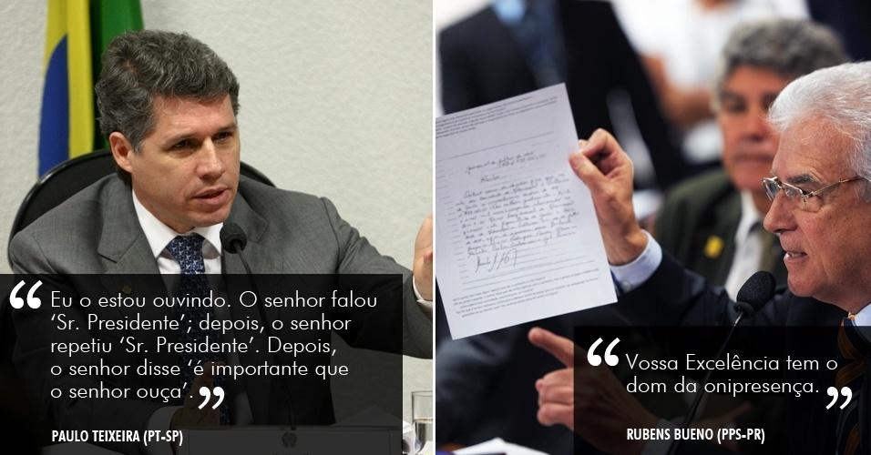 """5.jun.2012 - """"Eu o estou ouvindo. O senhor falou 'Sr. Presidente'; depois, o senhor repetiu 'Sr. Presidente'. Depois, o senhor disse 'é importante que o senhor ouça'. Ouvi tudo que o senhor falou"""", disse o deputado Paulo Teixeira (PT-SP), que presidiu interinamente a reunião da CPI do dia 5 de junho, respondendo às cobranças do deputado Rubens Bueno (PPS-PR), que rebateu: """"Vossa Excelência tem o dom da onipresença"""""""
