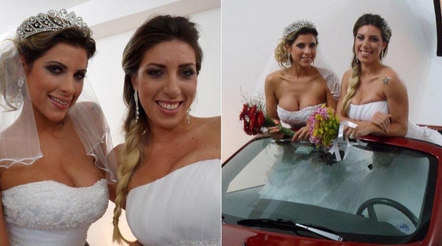 As irmãs Ana Paula e Tatiane Minerato fotografaram para um editorial vestidas de noivas (6/6/12)