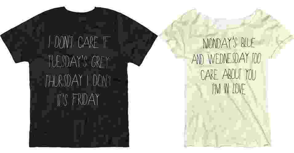 Camisetas masculina e feminina com frases que completam; R$ 59,90 cada, na Dzarm (SAC: 0800 473 113) - Divulgação