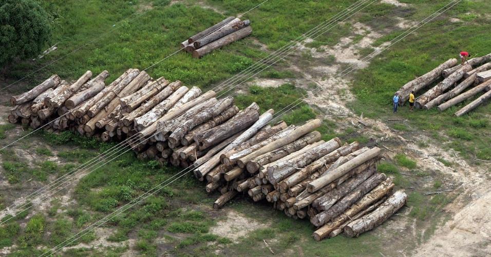 fev.2005 - Madeira ilegal empilhada perto de Anapu, a 600 quilômetros de Belém