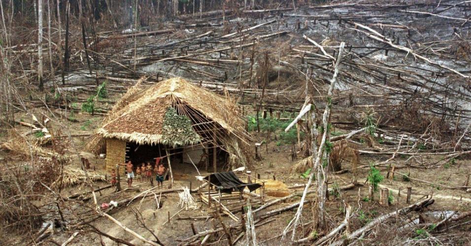 mar.1998 - Índios em área de floresta destruída em Roraima
