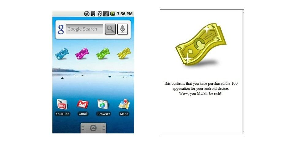 O 100 Dollar App (aplicativo dos US$ 100), para Android, não faz nada. Ele apenas mostra uma nota com a seguinte mensagem: ?Isso confirma que você comprou o aplicativo dos US$ 100 para seu Android