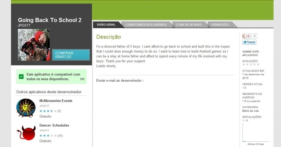 O Going Back To School 2 (Android) é um aplicativo bizarro. Não pelas funcionalidades que não têm, mas pela causa. O programa foi criado por um pai de família que quer bancar seus estudos para ajudar os filhos