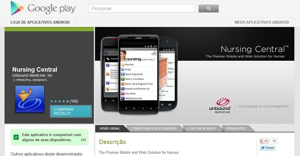 O Nursing Central (Android) é uma espécie de compêndio com as principais informações sobre doenças, remédios e procedimentos para pacientes