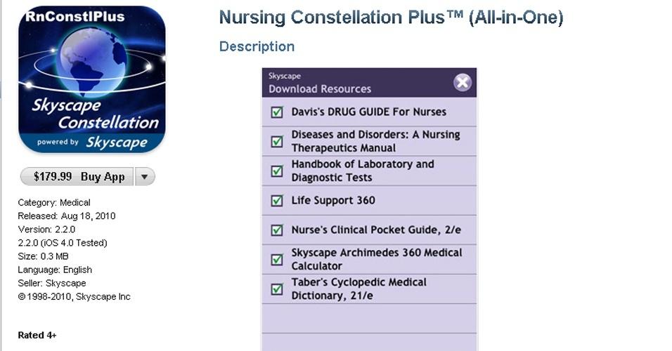 O Nursing Constellation Plus é um bom guia para enfermeiros. O aplicativo traz um extenso banco de dados sobre medicamentos, além de calcular a dose certa para cada paciente