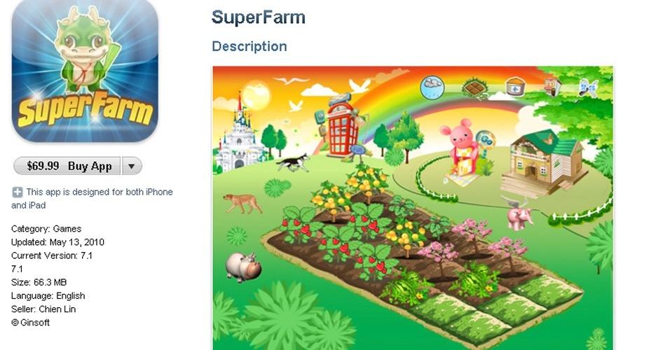 O Superfarm é o jogo mais caro da App Store e a melhor maneira de defini-lo é: um Farmville para iPhone. E, a julgar pelas recomendações de quem já o comprou, deve ser bem entediante