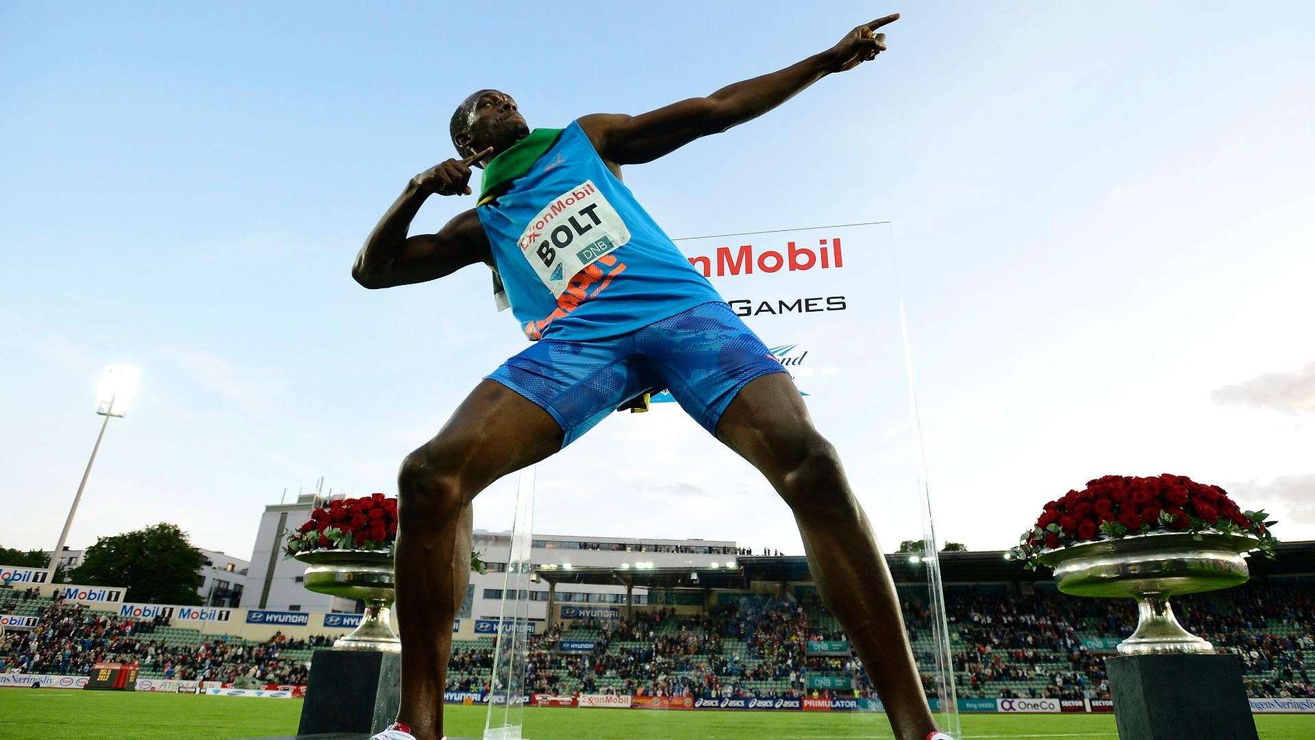 Usain Bolt comemora após vencer os 100 m rasos da etapa de Oslo
