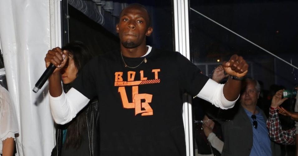 Usain Bolt mostra animação em balada em que assumiu a discotecagem após vencer prova na quinta etapa da Liga Diamante em Oslo