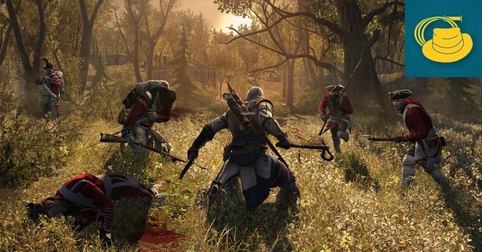 """AÇÃO E AVENTURA - VENCEDOR: A guerra entre assassinos e templários desembarca em outro período histórico em """"Assassin's Creed 3"""", com novo motor gráfico que proporciona grandes áreas abertas e novas armas, movimentos e um protagonista inédito, o meio-índio Connor."""