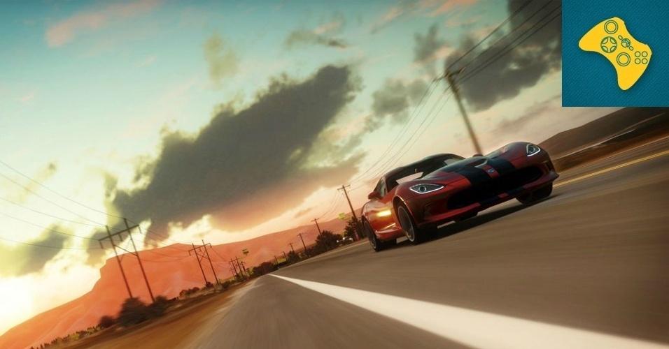 """XBOX 360 - MENÇÃO HONROSA: """"Forza Horizon"""" traz a mesma grande variedade de marcas automobilísticas famosas da série, mas agora coloca a ação em um mundo aberto, enfatizando um clima de rachas entre amigos em busca de fama e dinheiro."""