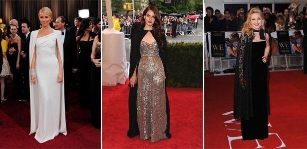 Gwyneth Paltrow usou um conjunto de capa e vestido branco Tom Ford para ir ao Oscar, este ano. Já a cantora Lana Del Rey apostou em um vestido brilhante e capa preta Joseph Altuzarra no baile do MET e Madonna vestiu uma capa de renda Dolce & Gabbana em um evento em Londres - Getty Images