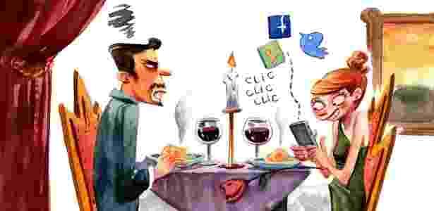 Não fique mexendo no celular durante um encontro; o melhor a fazer é deixar o aparelho no modo silencioso - Julia Bax/UOL