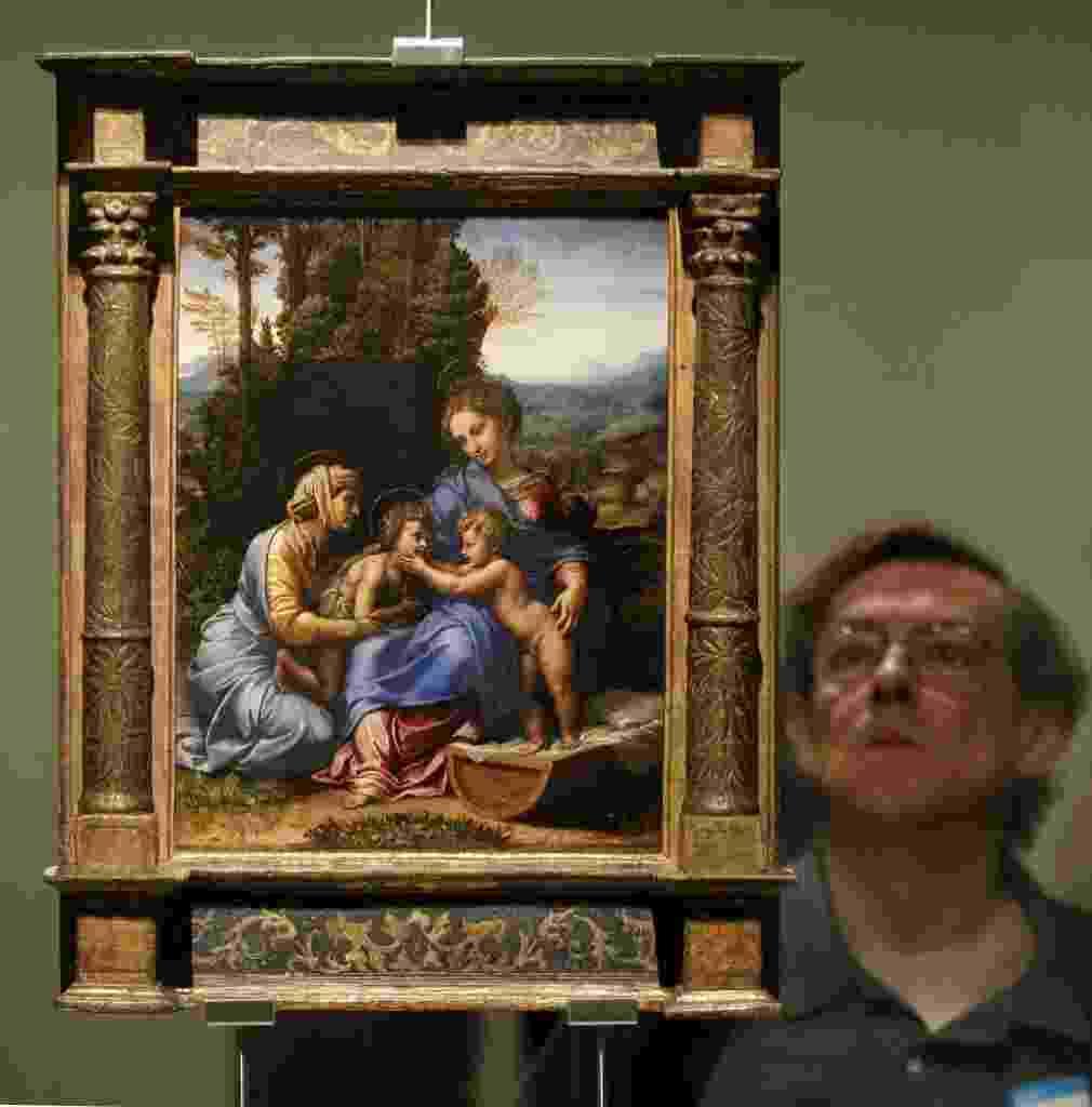 Museu do Prado e Louvre se reúnem para maior exposição sobre o pintor renascentista Rafael Sanzio. A exposição está em cartaz no Museu do Prado, em Madri, a partir de 12/6  - EFE/Chema Moya