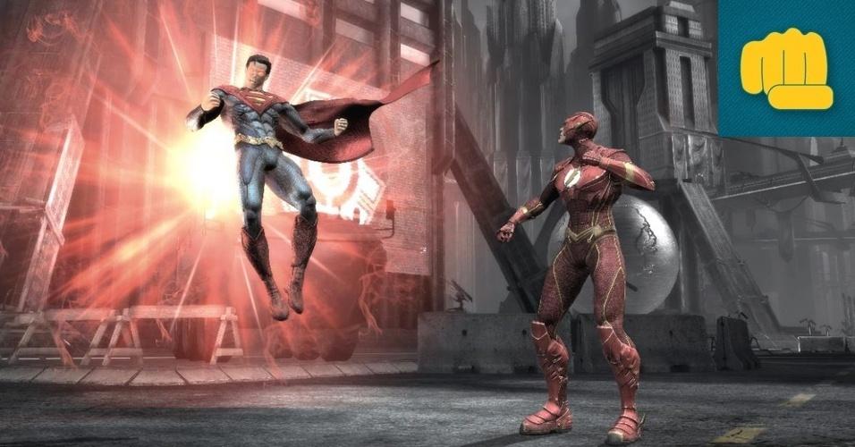 """LUTA - VENCEDOR: O estúdio que nos trouxe """"Mortal Kombat"""" coloca os super-heróis da DC Comics para se enfrentar em """"Injustice"""". O jogo traz mecânica simples e mesmo não extrapolando na violência impressiona com a sensação de poder dos golpes."""