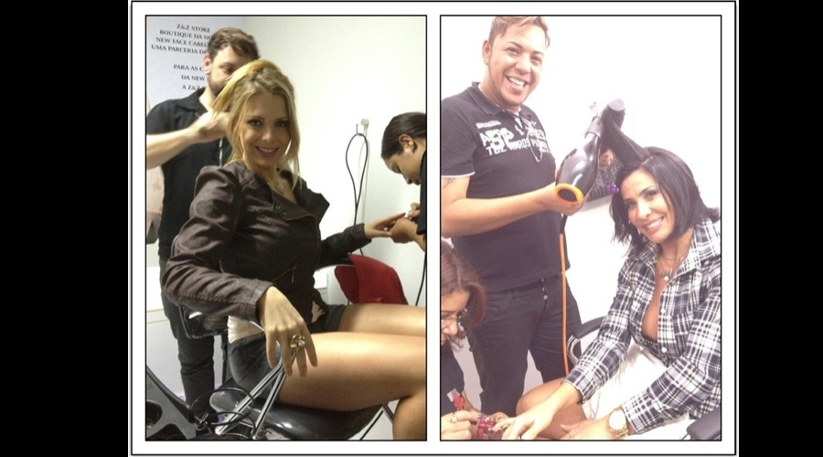 Scheila Carvalho e Scheila Mello foram cuidar das madeixas em um salão de beleza (8/6/12)