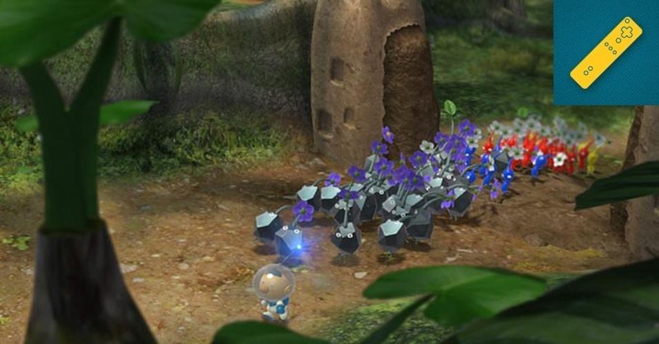 """Wii U - MENÇÃO HONROSA: Shigeru Miyamoto sempre foi um mestre em saber aproveitar o hardware da Nintendo para dar vida aos seus jogos. Não por acaso, """"Pikmin 3"""" talvez seja o título que até agora melhor mostre as possibilidades do novo controle do Wii U aos desenvolvedores."""